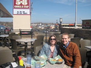Enjoying one of our burger dates on the 5-8 Grill & Tap's patio.