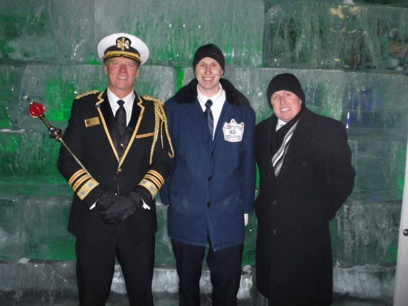 Photo of King Boreas LXXXII, Royal Guardsman Danny and Neighbors CEO Charlie Thompson. Danny spent the night in the Ice Palace to raise awareness for the need for cold weather gear donations.