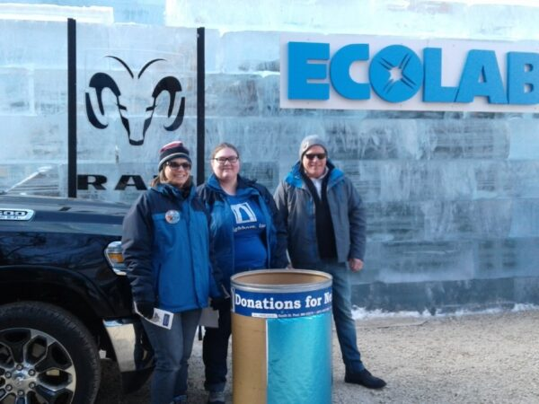 Photo of cold weather gear donation collection outside of the 2018 Ice Palace in downtown St. Paul, MN.