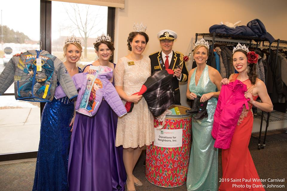 Members of the 2018 Royal Family collecting clothing donations for Neighbors.
