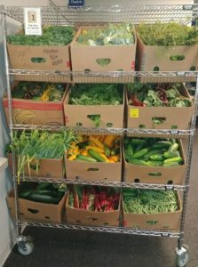 The Express shelves stocked with produce.